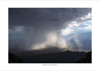 rainstorm at sandia crest, new mexico